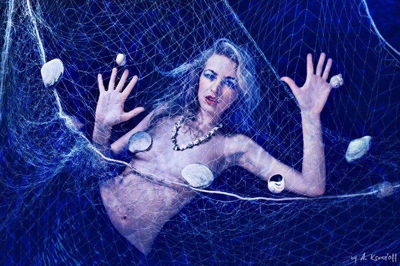 девушка, взгляд, русалка, сеть, ракушки, глубина come undone....photo preview