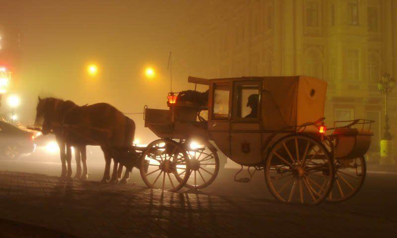 одесса, туман, вечер, карета старый городphoto preview