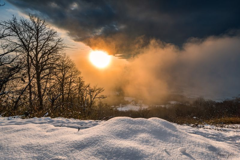 winter snow kyoto japan landscape nature mountain mist sun Burning Morningphoto preview