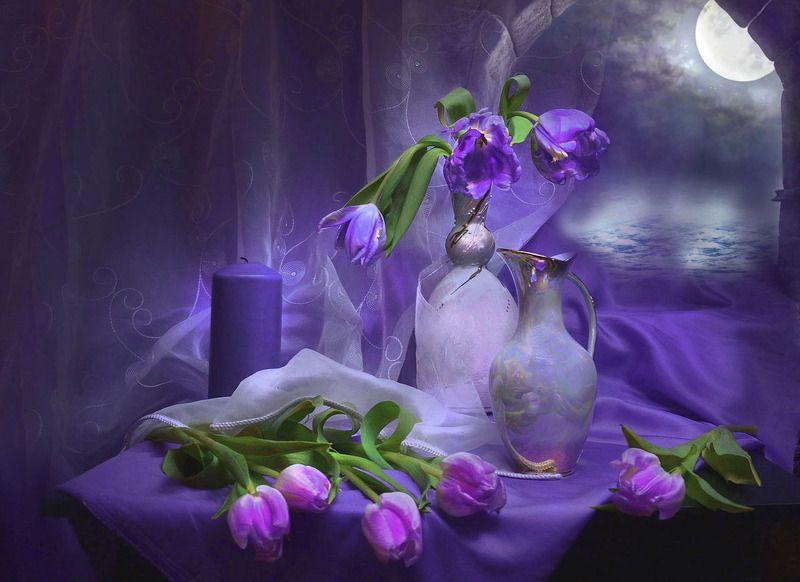 still life,натюрморт,цветы, фото натюрморт, фарфор, тюльпаны, свеча, настроение В объятиях сиреневой нежности...photo preview