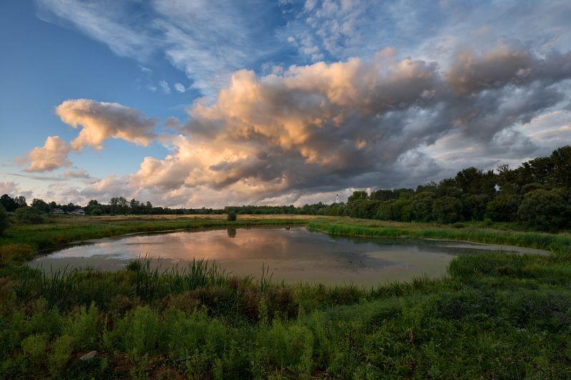 лето,вечер,закат,река,заводь,небо.облака,тучи,киржач летним вечеромphoto preview