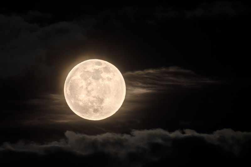 суперлуние, супер луна, полная луна, полнолуние, луна, ночь, перигей, зима, февраль, 19 февраля 2019, облака, небо, астрономическое явление, спутник земли Суперлунаphoto preview