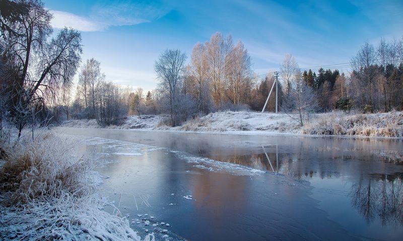 зима, снег, утро, мороз, winter, snow, река, лед Февральское утроphoto preview