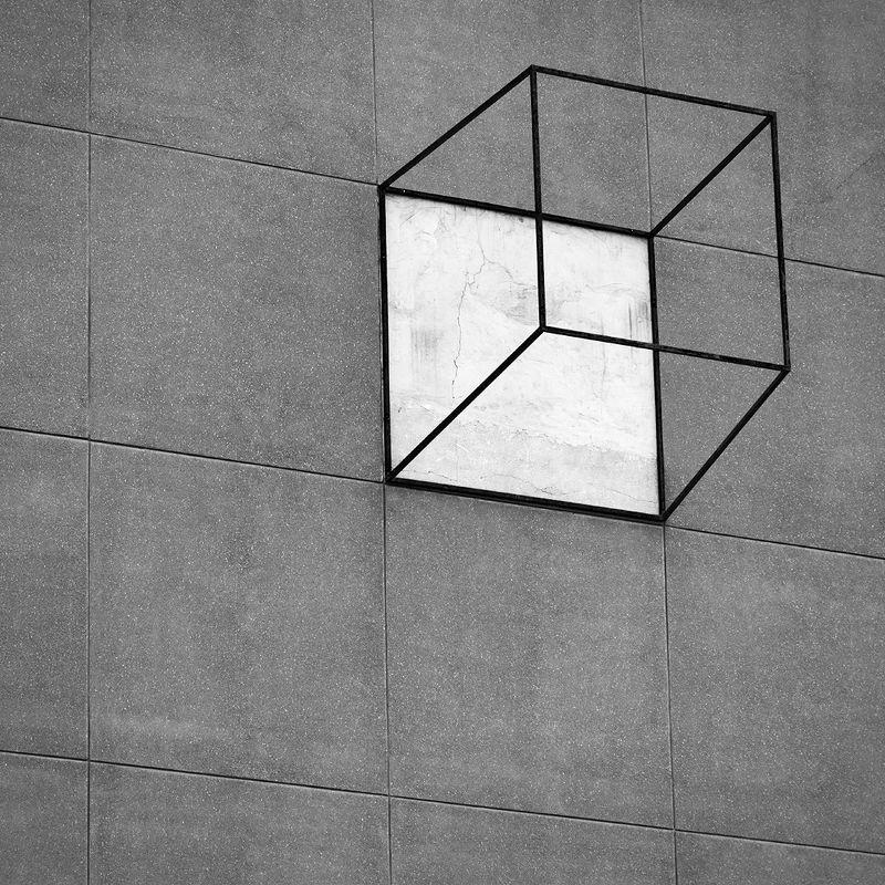 фасад, плитка, геометрия, стена, куб, квадрат, грань, линия, красноярск, сибирь, искусство, музей, киц Кубphoto preview
