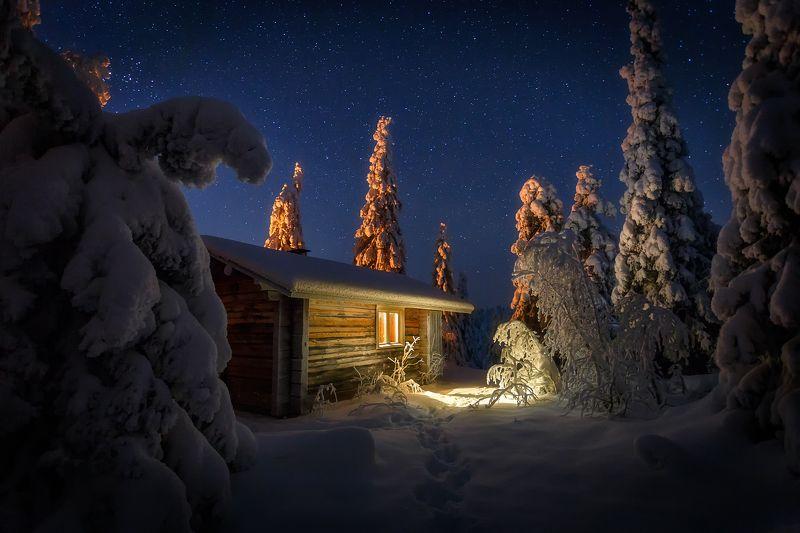 ночь финляндия звёзды риистиунтури Лесная избушка под сводом звёзд.photo preview