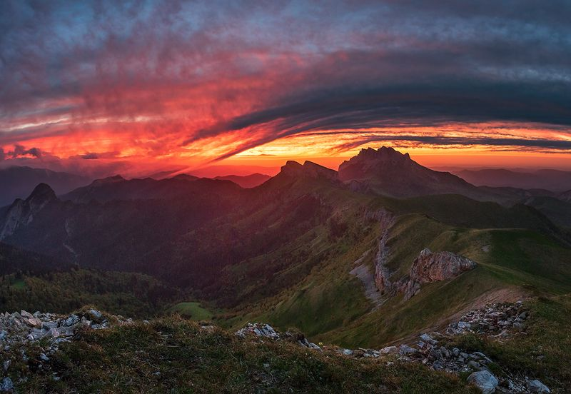 закат, большой тхач, малый тхач, асбестная, горы, пейзаж, рассвет, кавказ, адыгея, ачешбоки, Закат в \