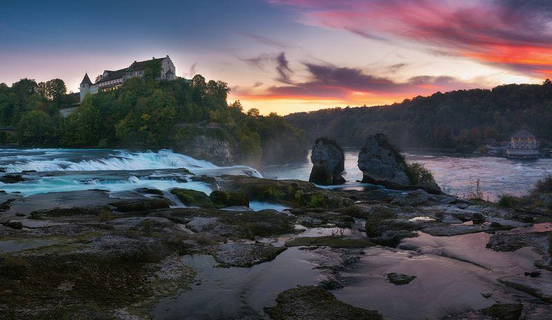 cityscape,travel,waterfall,sunset,landscape,panorama,swiss Rhinefallsphoto preview