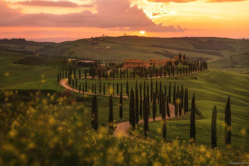 тоскана италия tuscany italy Закат в Тосканеphoto preview