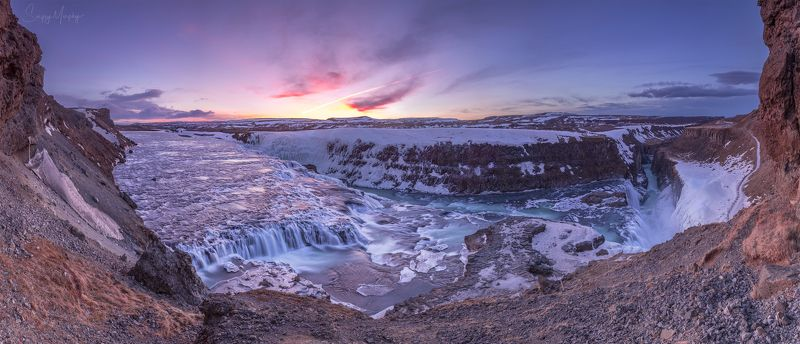morning gullfoss. iceland. One morning around Gullfoss. Iceland.photo preview