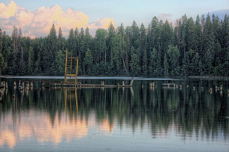 вода, деревья, лес, облака, озеро, отражение lakephoto preview