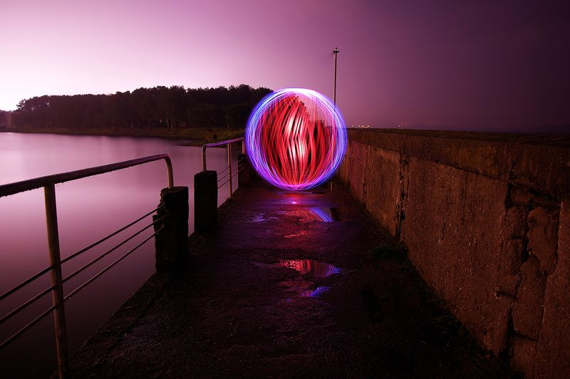 ball of light, long exposure, Lithuania, night *photo preview