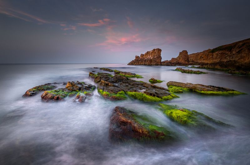 landscape nature seascape sunset rocks coastal coast beach sea seaside scenery waves In the end of the dayphoto preview