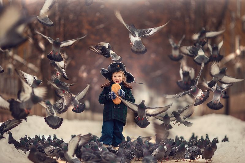 голуби, дети, россия Налетели...photo preview