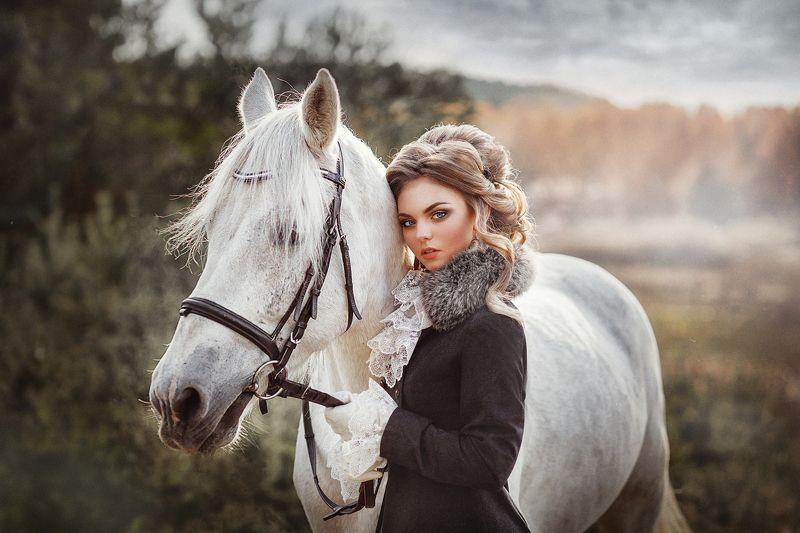 портрет девушка лошадь girl Дианаphoto preview