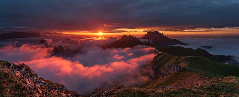 закат, большой тхач, малый тхач, асбестная, горы, пейзаж, рассвет, кавказ, адыгея, ачешбоки, Над облакамиphoto preview