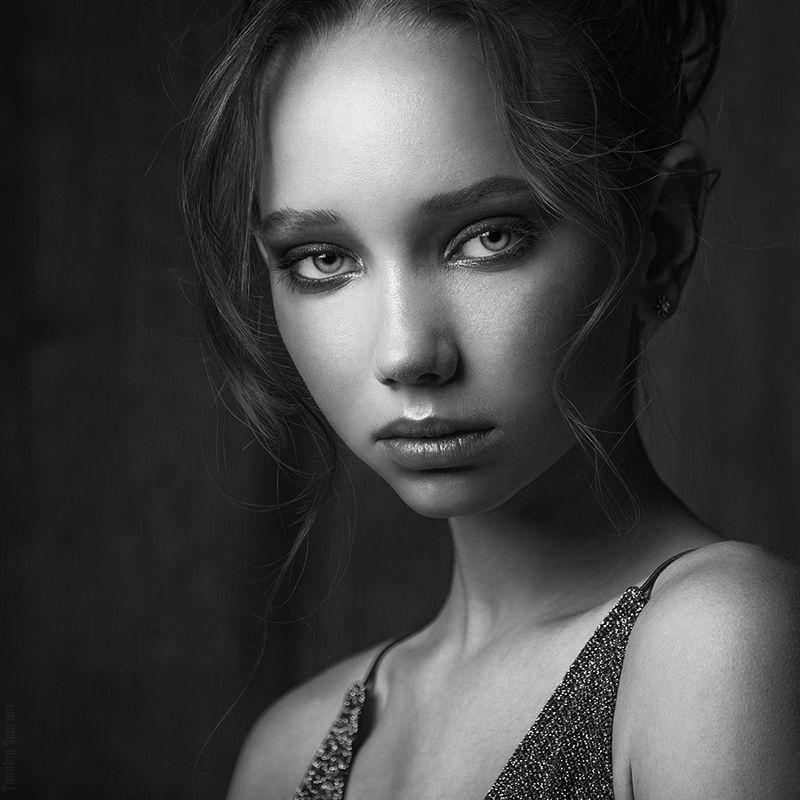 девушка, портрет, милая, cute, girl, portrait, черно-белое, blackandwhite Polinaphoto preview