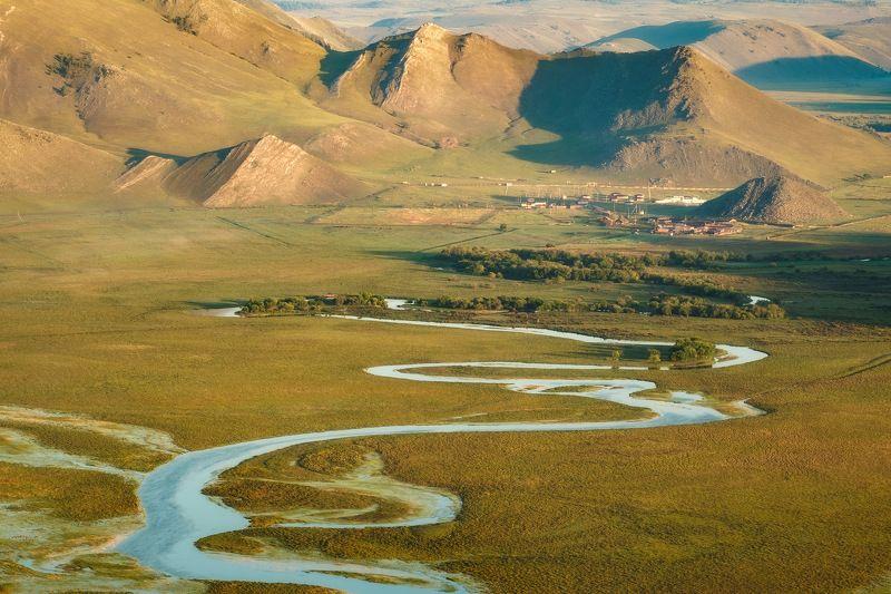 россия, иркутская область, байкал, анга, сибирь, тажеранские степи, река, лес, рассвет, сумерки, устье, меандры, осень Изгибы Анги.photo preview