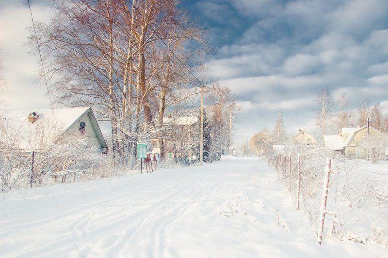 россия, ленинградская область, январь, снег, зима, дервня, дом, улица, мороз, небо, dyadyavasya Рождественская прогулка по деревнеphoto preview