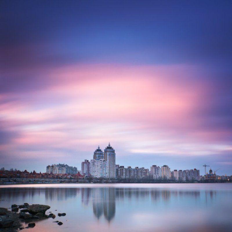 киев,оболонь,закат,длинная выдержка городской закат ...photo preview