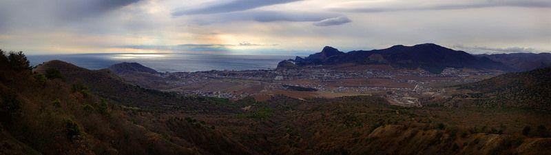 крым, зима, , море, горы Новый год над Судакомphoto preview