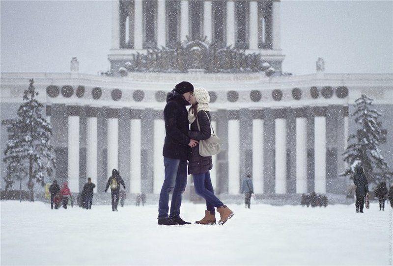 пара, поцелуй, зима, вднх, москва Winter Lovephoto preview