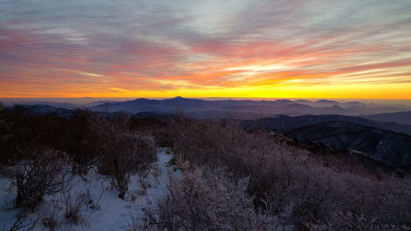 korea, jeollabukdo, mountain, sunrise, winter, snow, rime ice, sky, colorful, clouds, morning, dawn Before sunrisephoto preview