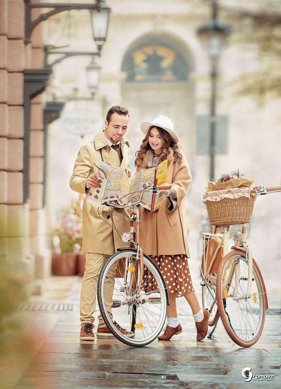 пара, Будапешт, туристы, влюбленные, весна, прогулка, путешествие, велосипеды Туристыphoto preview