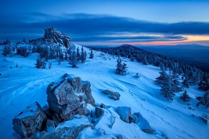 зюраткуль,урал,хребет,горы,рассвет,зима,снег Перед рассветомphoto preview