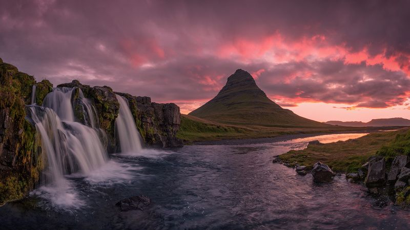 islandia, iceland, исландия, kirkjufellsfoss, киркьюфетль, kirkjufell Исландский рассвет.photo preview