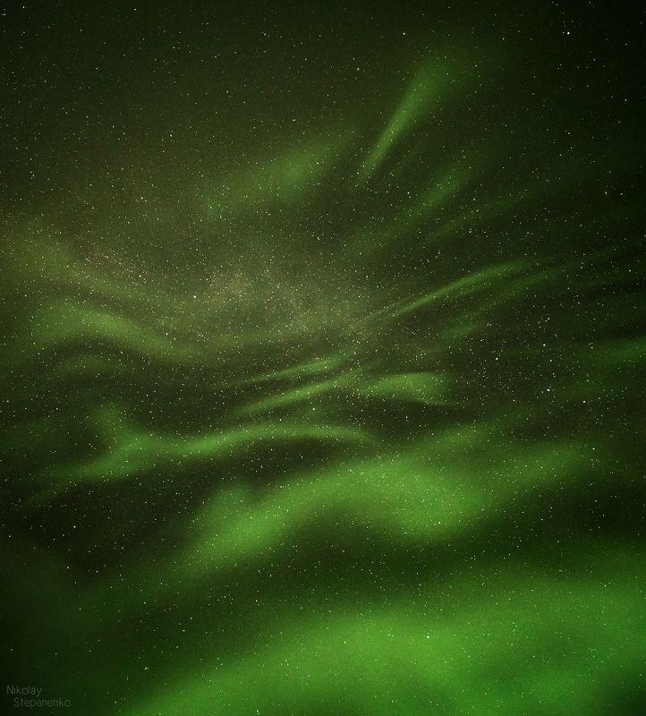северное сияние, аврора, мурманская область, небо, звёзды, космос Сияниеphoto preview