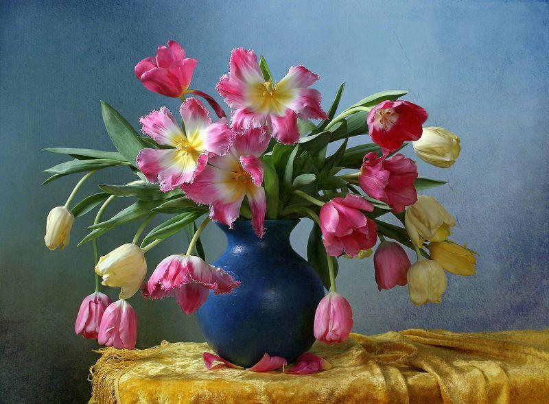 весна, натюрморт, букет цветов, тюльпаны, марина филатова Весна ещё вчера казалась сномphoto preview