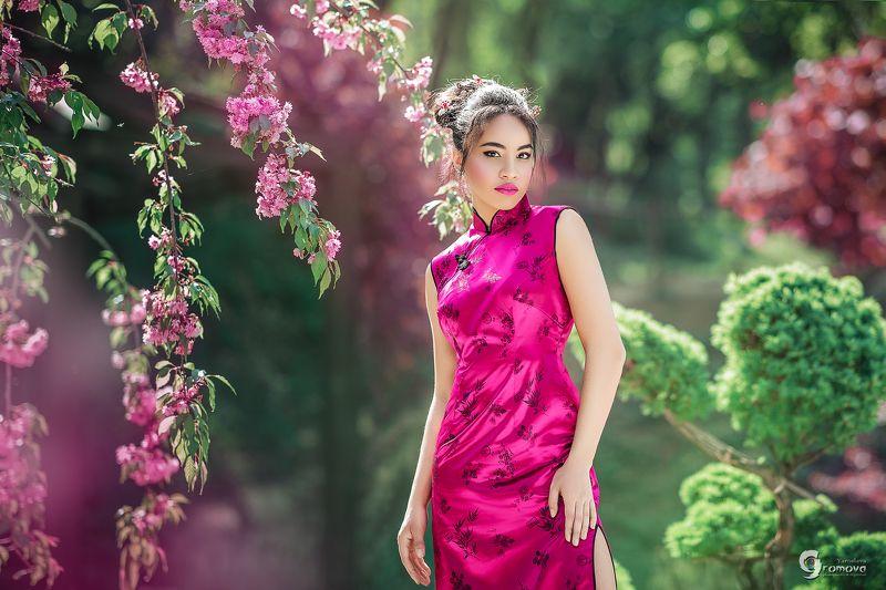 девушка, метис, Китай, Япония, сакура, традиции, смешение, глобализация, весна, цветение, розовый Tinaphoto preview