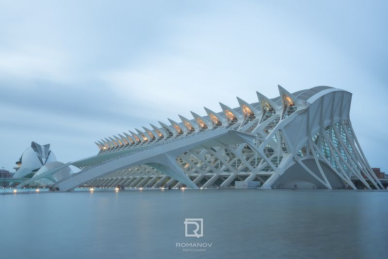 Architecture, Famous Place, Blue, Modern, Urban Scene, Building, Tower, Building Exterior, City, Travel, Asia, Cityscape, River, Sky, Reflection, Tourism, Ciudad, Artes, Ciencias, Valencia, Spain, City of Arts and Sciences Ribs in bluephoto preview