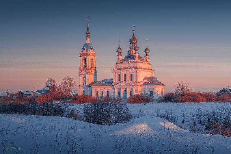 савинское, село, церковь, зима, рассвет, ярославская область Савинскоеphoto preview