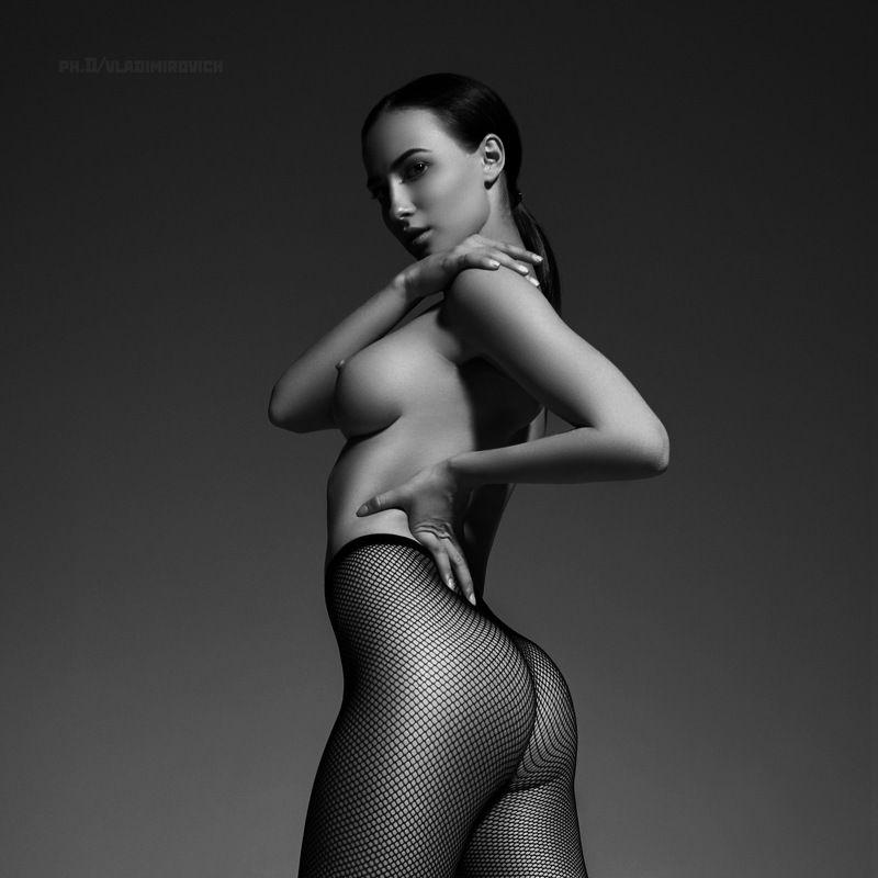 ню, чб, портрет, черно белое, девушка, fujifilm, zenitar, studio, black and white, female, nude В колготахphoto preview