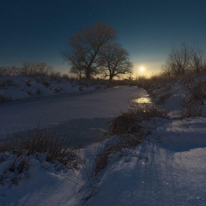 light, moon, night, river, winter, деревья, звездное небо, звезды, зима, луна, мороз, небо, ночная съемка, ночной пейзаж, ночь, пейзаж, речка, снег, moonrise, nightscape, night photography, starry sky ***photo preview