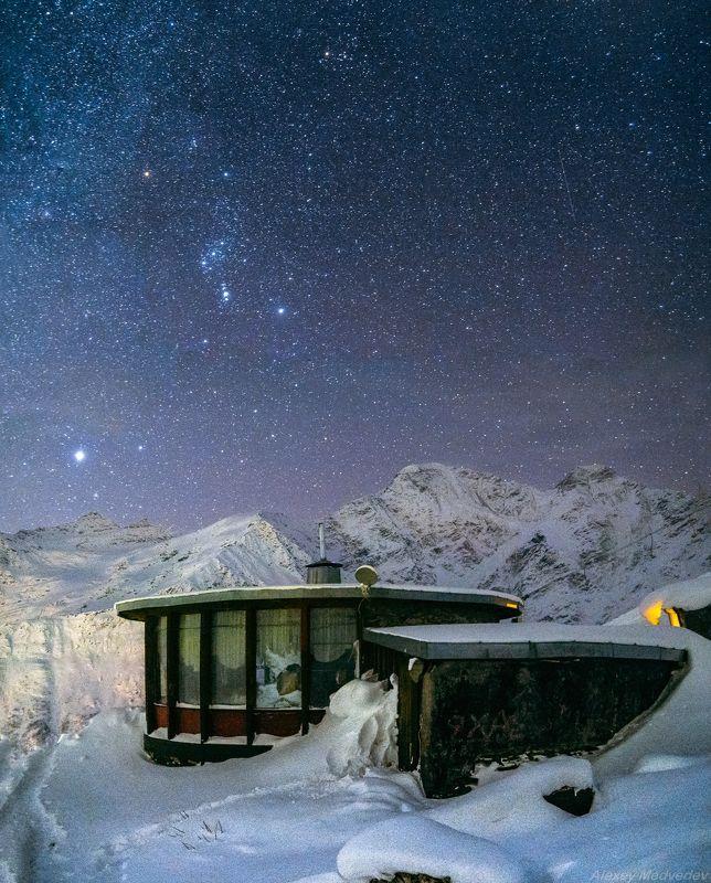 зима, кавказ, эльбрус, терскол, ночь, звезды, горы, Айphoto preview
