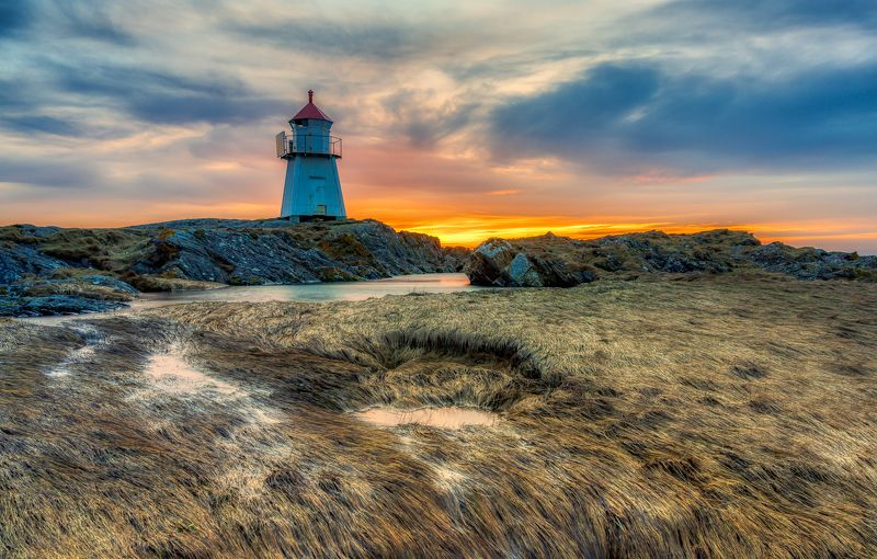 lighthouse, landscape, seaside, seascape, Norway Lighthouse in sunsetphoto preview