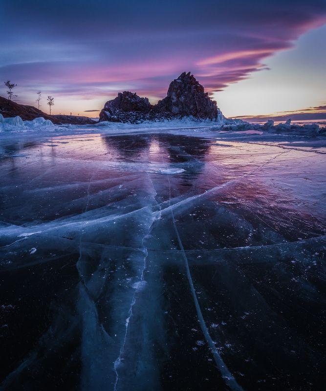 Байкал, лед, скала, путешествия, закат Вечер на Байкальском льду IIphoto preview