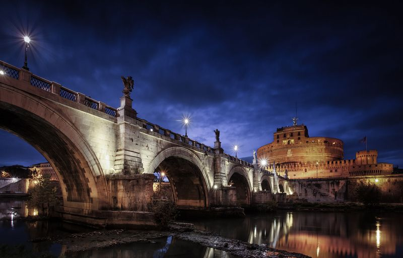 rome, city, night, architecture, italy, river, sunset, blue, light, Rome, Eternal Cityphoto preview