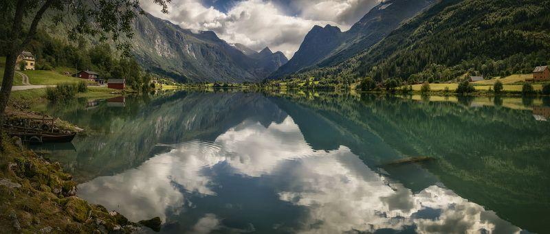 озеро, ледник, отражение, Норвегия норвежская идиллия photo preview