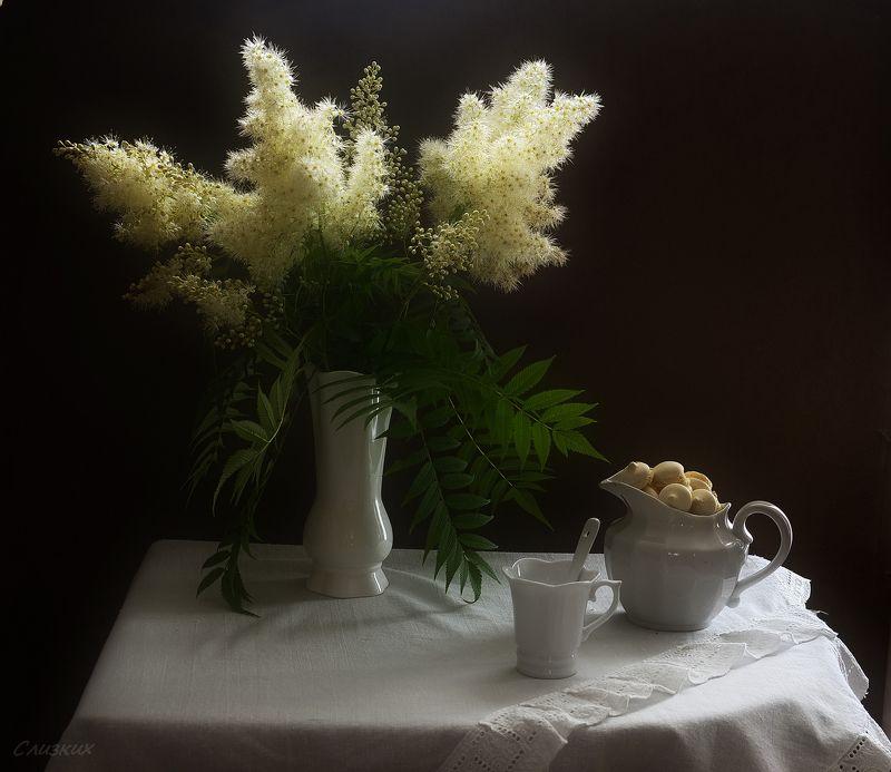 натюрморт,букет,свет,молочник,композиция С рябинником и печеньемphoto preview