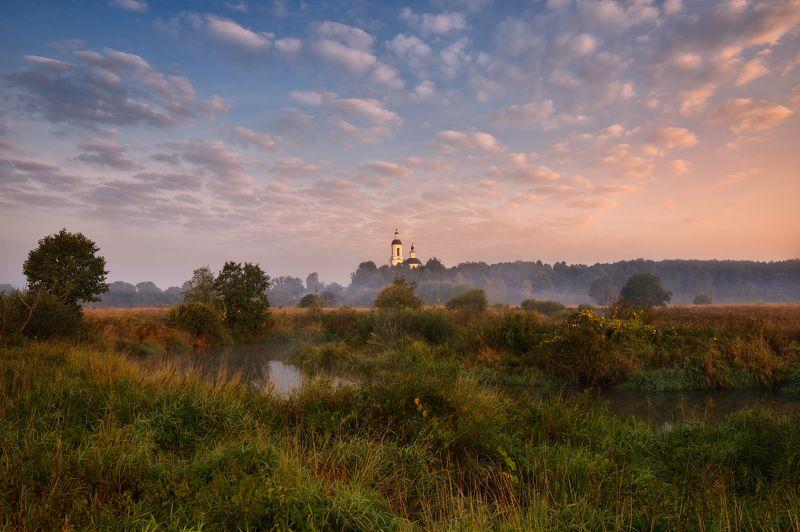 утро,рассвет,река,небо,облака,туман,храм утро в Филипповскомphoto preview