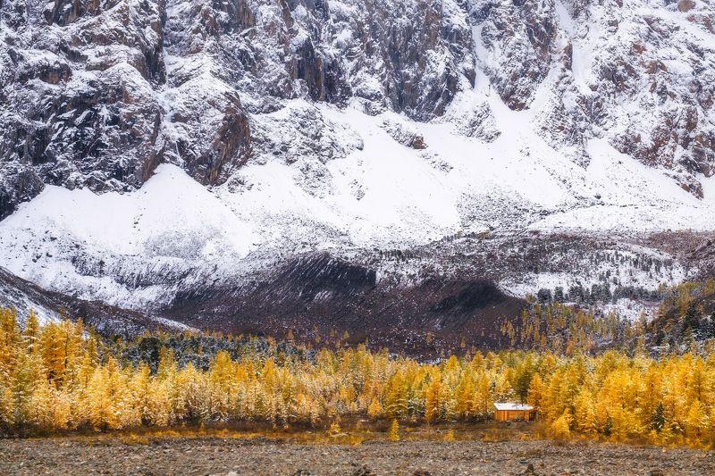 россия, алтай, республика алтай, горный алтай, природа, пейзаж, сибирь, горы, река, поток, снег, осень, актру Встреча осени и зимыphoto preview