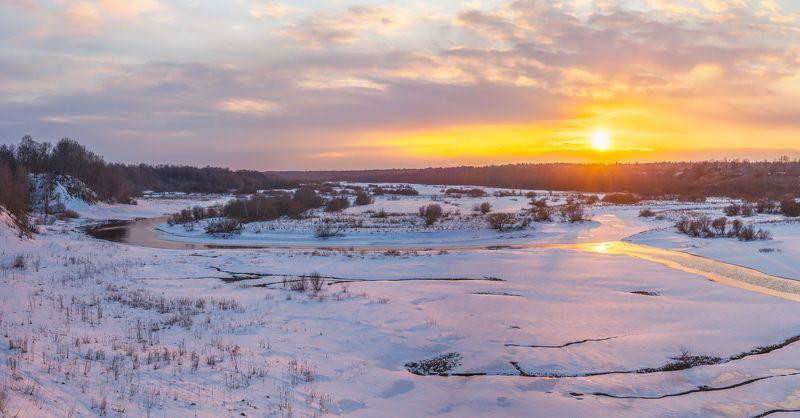 пейзажи ленинградской области, лужский район, оредеж, ям-тёсово, зима в ленинградской области, март, река \
