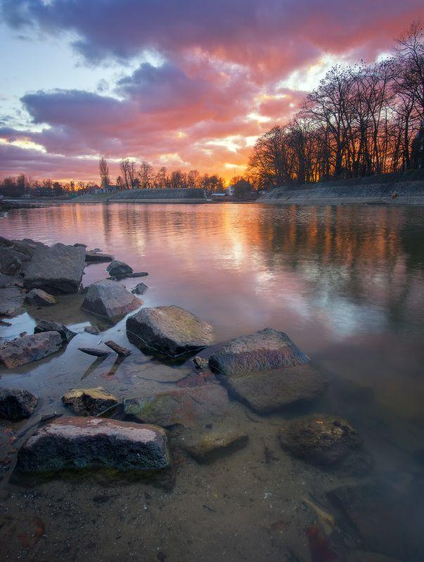 закат, одра, вечер, небо, пейзаж, река, sunset, bed, evening, sky, landscape, river, olympus Закат на берегу рекиphoto preview