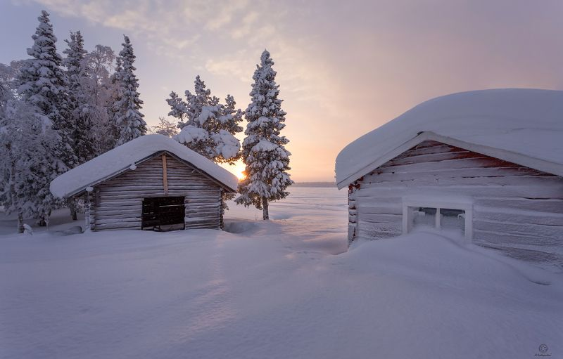 зима, рассвет, снег, холод, дома Воскресное утроphoto preview