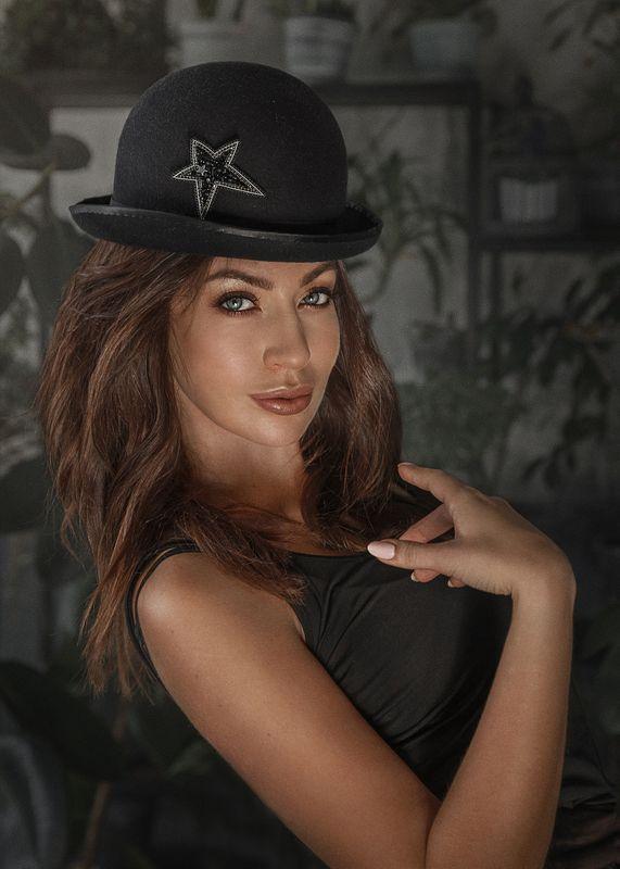 фото в образе, стилизованное фото, стиль, ретро, элегантность, шляпка, котелок Ольгаphoto preview