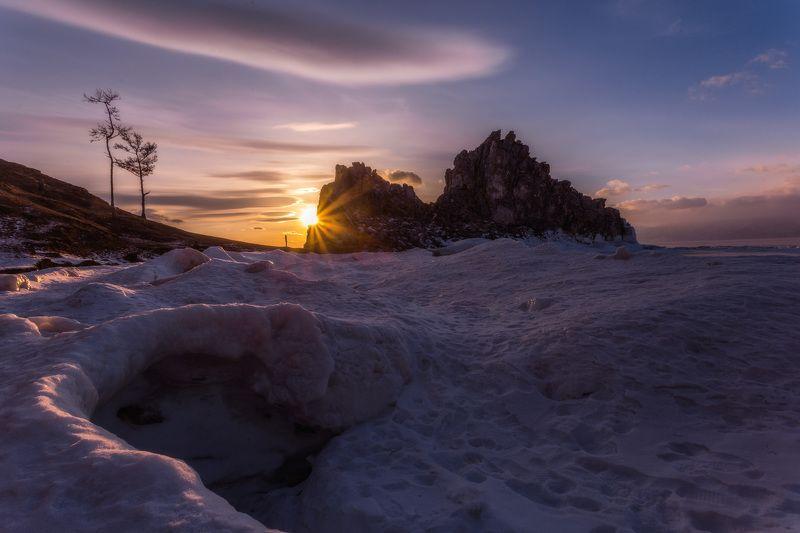 байкал, зима, лед, мнег, путешествие, закат, солнце Последние холодные лучиphoto preview