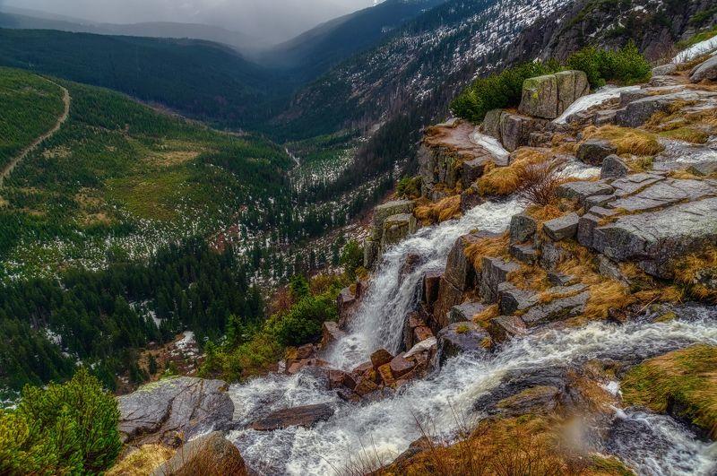 природа осень листва утро туман путешествия пейзаж вода водоём водопад Чехия весна скалы горы отражения Панчавский Водопадphoto preview